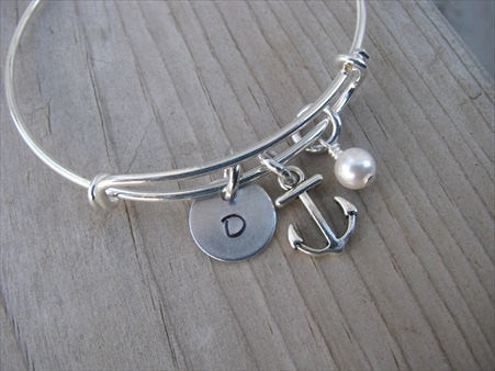 Anchor Charm Bracelet -Adjustable Bangle Bracelet with an Initial Charm and an Accent Bead of your choice