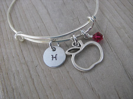 Apple Charm Bracelet -Adjustable Bangle Bracelet with an Initial Charm and an Accent Bead of your choice