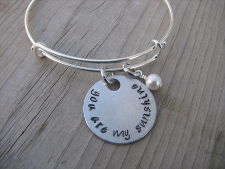 "You Are My Sunshine Inspiration Bracelet- ""you are my sunshine"" - Hand-Stamped Bracelet- Adjustable Bangle Bracelet with an accent bead of your choice"