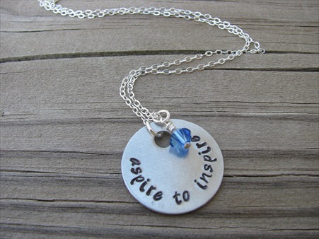 "Inspiration Necklace- ""aspire to inspire"" - Hand-Stamped Necklace with an accent bead in your choice of colors"