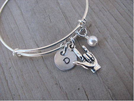 Sign Language- I Love You  Charm Bracelet- Adjustable Bangle Bracelet with an Initial Charm and an Accent Bead of your choice