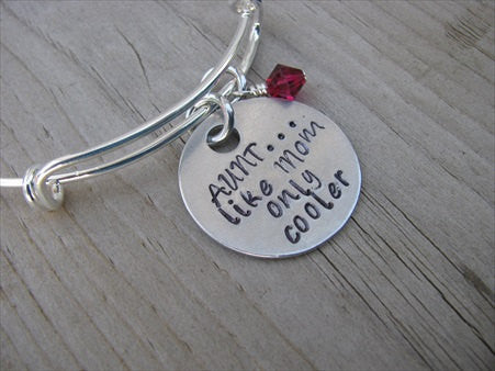 "Aunt Bracelet- ""AUNT...like Mom only cooler"" - Hand-Stamped Bracelet  -Adjustable Bangle Bracelet with an accent bead of your choice"