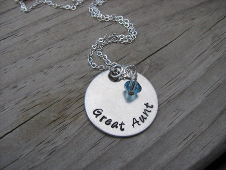 "Great Aunt Necklace- ""Great Aunt"" - Hand-Stamped Necklace with an accent bead in your choice of colors"