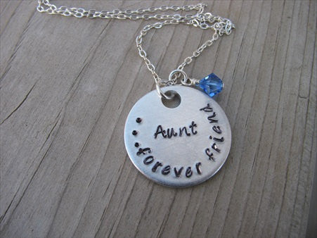 "Aunt's Necklace- ""Aunt...forever friend""   - Hand-Stamped Necklace  -with an accent bead of your choice"