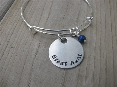 "Great Aunt Bracelet- ""Great Aunt"" - Hand-Stamped Bracelet- Adjustable Bangle Bracelet with an accent bead of your choice"