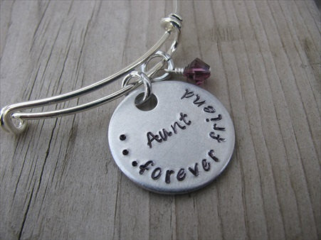 "Aunt Bracelet- ""Aunt...forever friend""  - Hand-Stamped Bracelet  -Adjustable Bangle Bracelet with an accent bead of your choice"