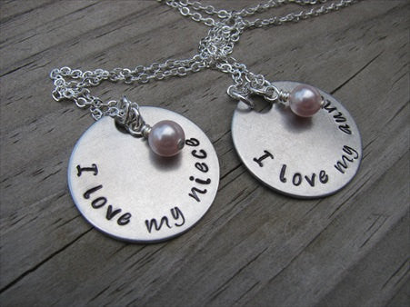 "Aunt, Niece Necklace Set, ""I love my aunt"" and ""I love my niece"" with an accent bead of your choice on each- set of 2 necklaces- Hand-Stamped Necklaces  -with an accent bead of your choice"