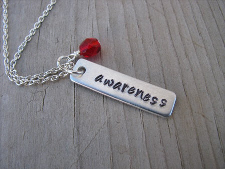 "Awareness Inspiration Necklace ""awareness""- Hand-Stamped Necklace with an accent bead of your choice"