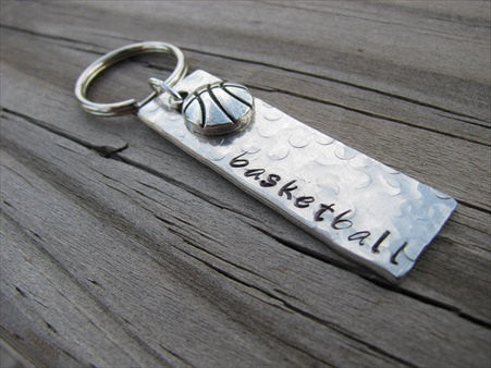 "Basketball Keychain- with name of your choice or ""basketball"" with basketball charm- Keychain- Small, Textured, Rectangle Key Chain"