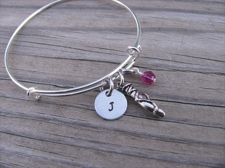 Dancer Charm Bracelet -Adjustable Bangle Bracelet with an Initial Charm and an Accent Bead of your choice