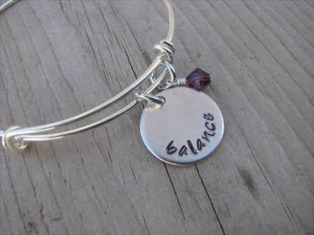 "Balance Inspiration Bracelet- ""balance""  - Hand-Stamped Bracelet  -Adjustable Bangle Bracelet with an accent bead of your choice"
