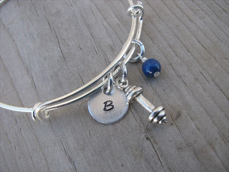 Exercise/Barbell Charm Bracelet- Adjustable Bangle Bracelet with Initial Charm and An Accent Bead of your choice