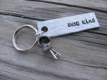 "BBQ Keychain - ""BBQ King"" with grill charm- Hand Stamped Metal Keychain- small, narrow keychain"