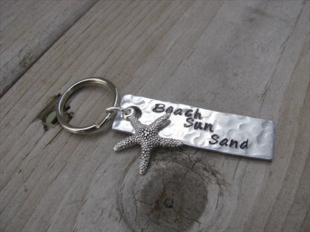 "Beach Keychain - ""Beach Sun Sand"" with Starfish charm - Hand Stamped Metal Keychain- small, narrow keychain"