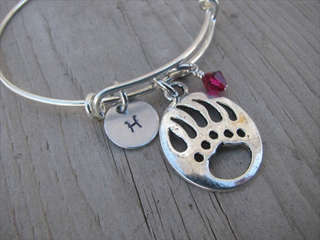 Bear Paw Charm Bracelet -Adjustable Bangle Bracelet with an Initial Charm and an Accent Bead of your choice