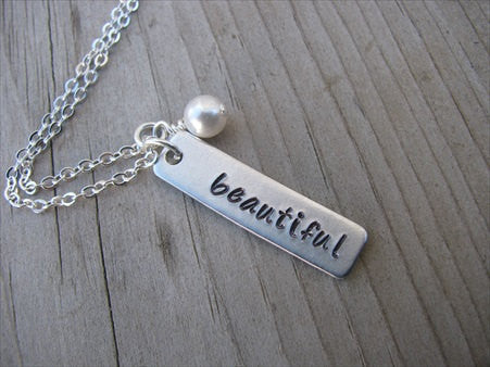 "Beautiful Inspiration Necklace-""beautiful"" - Hand-Stamped Necklace with an accent bead of your choice"