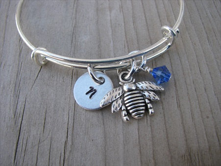 Bee Charm Bracelet -Adjustable Bangle Bracelet with an Initial Charm and an Accent Bead of your choice