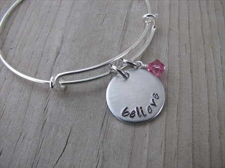 "Believe Inspiration Bracelet- ""believe""  - Hand-Stamped Bracelet  -Adjustable Bangle Bracelet with an accent bead of your choice"
