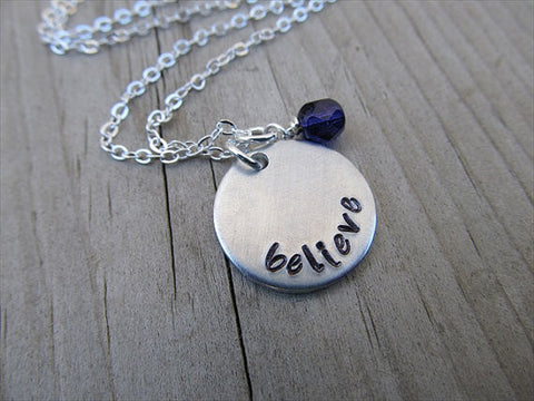 "Believe Inspiration Necklace- ""believe""- Hand-Stamped Necklace with an accent bead in your choice of colors"