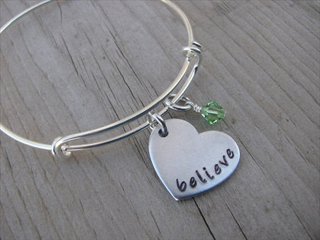 "Believe Heart Bracelet- Hand-Stamped heart with ""believe""- Hand-Stamped Bracelet -Adjustable Bangle Bracelet with an accent bead of your choice"