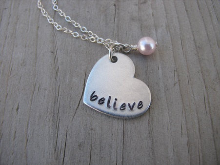 "Believe Heart Necklace- Hand-Stamped heart with ""believe"" -Necklace with an accent bead in your choice of colors"
