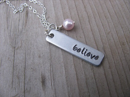 "Believe Inspiration Necklace ""believe""- Hand-Stamped Necklace with an accent bead of your choice"