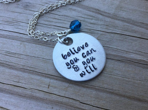 "Believe Inspiration Necklace- ""believe you can & you will"" - Hand-Stamped Necklace with an accent bead in your choice of colors"