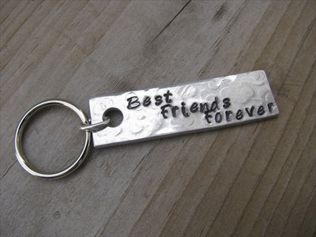 "Best Friends Forever Inspiration Keychain - ""Best Friends Forever"" - Hand Stamped Metal Keychain- small, narrow keychain"