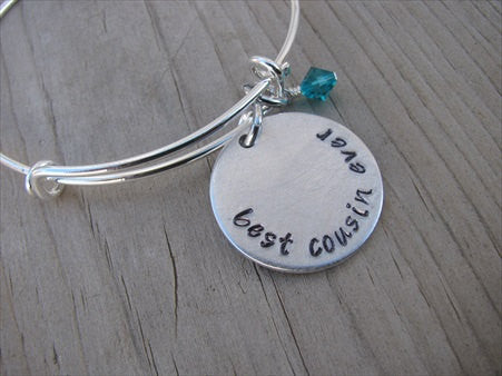 "Best Cousin Ever Bracelet- ""best cousin ever"" - Hand-Stamped Bracelet- Adjustable Bangle Bracelet with an accent bead of your choice"