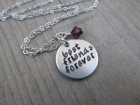 "Best Friends Forever Inspiration Necklace- ""best friends forever"" - Hand-Stamped Necklace with an accent bead in your choice of colors"