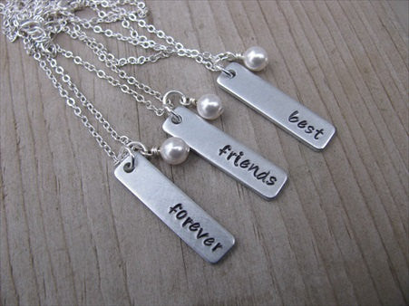 "Best Friends Forever Necklaces- 3 Necklace Set- ""best"", ""friends"", ""forever"" rectangle pendants- Hand-Stamped Necklaces  -with an accent bead of your choice"
