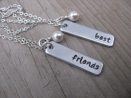 "Best Friends Necklaces- 2 Necklace Set- ""best"", ""friends"", rectangle pendants-- Hand-Stamped Necklaces  -with an accent bead of your choice"