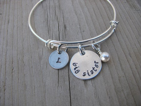 "Big Sister Bracelet - hand-stamped ""big sister"" Bracelet with initial charm  - Hand-Stamped Bracelet  -Adjustable Bangle Bracelet with an accent bead of your choice"