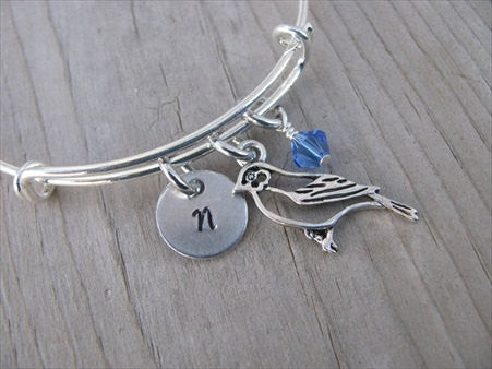 Bird Charm Bracelet -Adjustable Bangle Bracelet with an Initial Charm and an Accent Bead of your choice