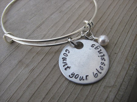 "Count Your Blessings Inspiration Bracelet- ""count your blessings"" - Hand-Stamped Bracelet- Adjustable Bangle Bracelet with an accent bead of your choice"