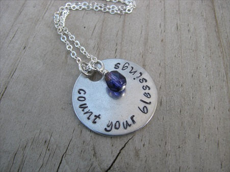 "Blessings Inspiration Necklace- ""count your blessings "" - Hand-Stamped Necklace with an accent bead in your choice of colors"