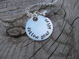 "Follow Your Bliss Inspiration Necklace- ""follow your bliss"" - Hand-Stamped Necklace with an accent bead in your choice of colors"