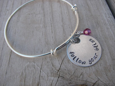 "Follow Your Bliss Inspiration Bracelet- ""follow your bliss"" - Hand-Stamped Bracelet- Adjustable Bangle Bracelet with an accent bead of your choice"