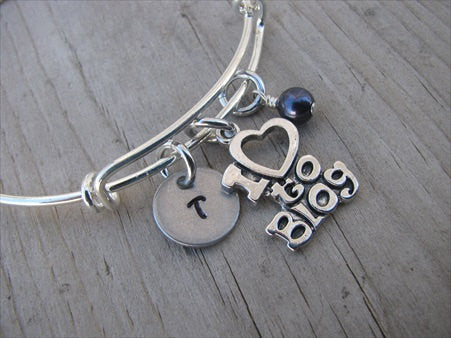 I ♥ to Blog Charm Bracelet- Adjustable Bangle Bracelet with an Initial Charm and an Accent Bead in your choice of colors