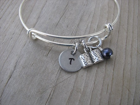 Book Charm Bracelet -Adjustable Bangle Bracelet with an Initial Charm and an Accent Bead of your choice