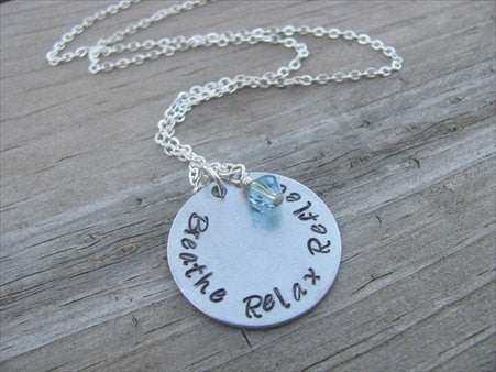 "Breathe Relax Reflect Inspiration Necklace- ""Breathe Relax Reflect"" - Hand-Stamped Necklace with an accent bead in your choice of colors"