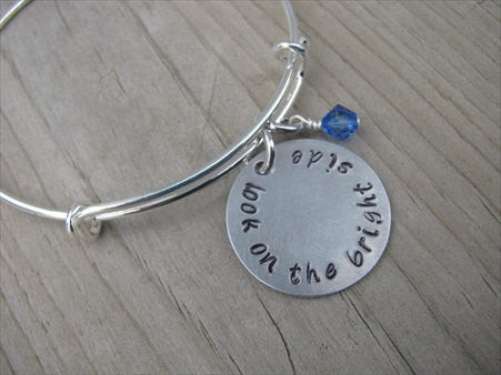 "Inspiration Bracelet- ""look on the bright side""  - Hand-Stamped Bracelet- Adjustable Bangle Bracelet with an accent bead of your choice"