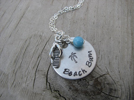 "Beach Necklace- ""Beach Bum"" with flip flop charm- Hand-Stamped Necklace  -with an accent bead of your choice"