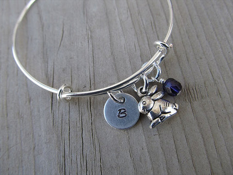 Rabbit Charm Bracelet- Adjustable Bangle Bracelet with an Initial Charm and an Accent Bead of your Choice