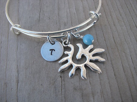 Sunburst Charm Bracelet- Adjustable Bangle Bracelet with an Initial Charm and an Accent Bead of your choice
