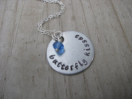 "Butterfly Kisses Inspiration Necklace- ""butterfly kisses"" - Hand-Stamped Necklace with an accent bead in your choice of colors"