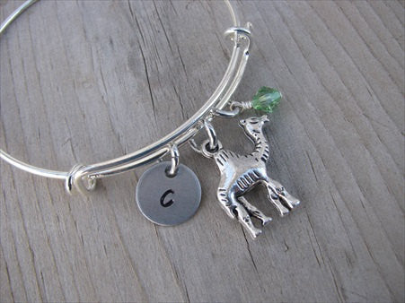 Camel Charm Bracelet -Adjustable Bangle Bracelet with an Initial Charm and an Accent Bead of your choice