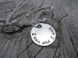 "I Can And I Will Inspiration Necklace- ""I can and I will"" - Hand-Stamped Necklace with an accent bead in your choice of colors"