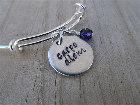 "Carpe Diem Inspiration Bracelet- ""carpe diem"" - Hand-Stamped Bracelet- Adjustable Bangle Bracelet with an accent bead of your choice"