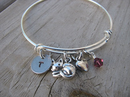 Cat Charm Bracelet -Adjustable Bangle Bracelet with an Initial Charm and an Accent Bead of your choice